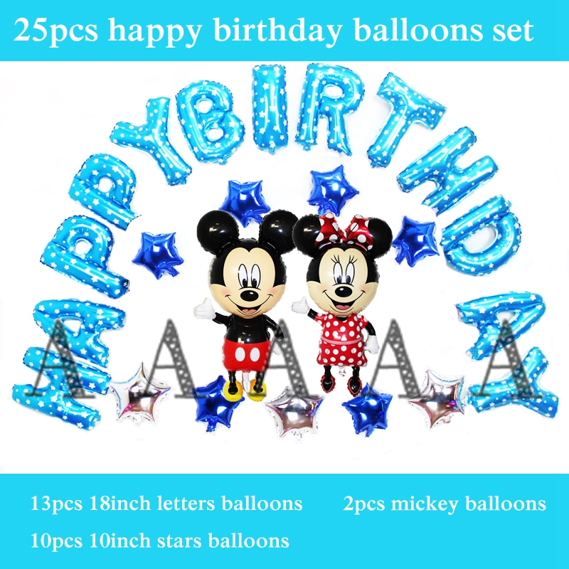 free shipping 25pcs/set minnie mickey mouse balloon foil material 13 happy birth