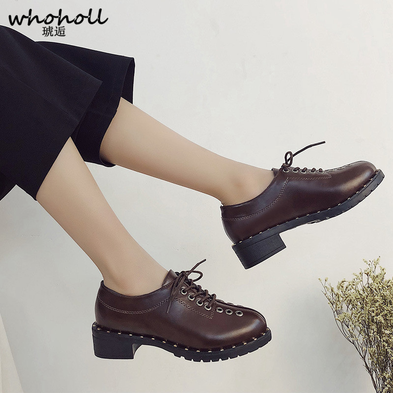 WHOHOLL Vintage Genuine Leather Oxford Shoes for Women British Style Lace up Round Toe Women Oxfords Brogues Flat Shoes czrbt genuine leather oxfords shoes women shoes spring autumn british style cow leather rivet lace up flat shoes women flats