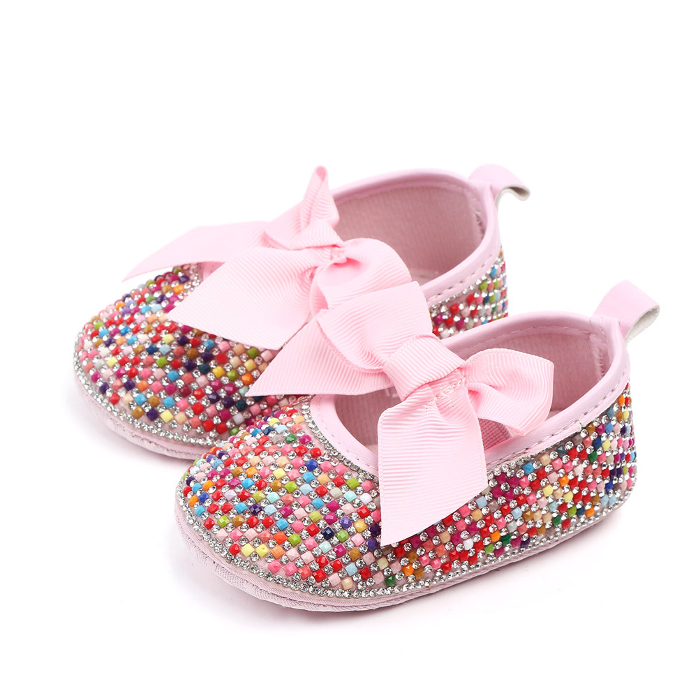 Handmade Crib Shoes Girls Princess Mary Jane Shoes DIY Crystal Pearl Baby Shoes With  Soft Soled Anti-Slip Bow Shoe Footwear