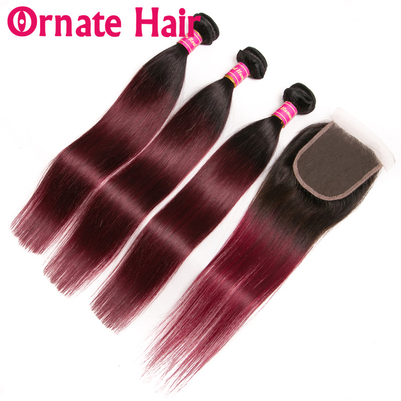 Ombre Color Straight Human Hair Bundles With Lace Closure Brazilian Hair Weave Bundles With Closure Ornate