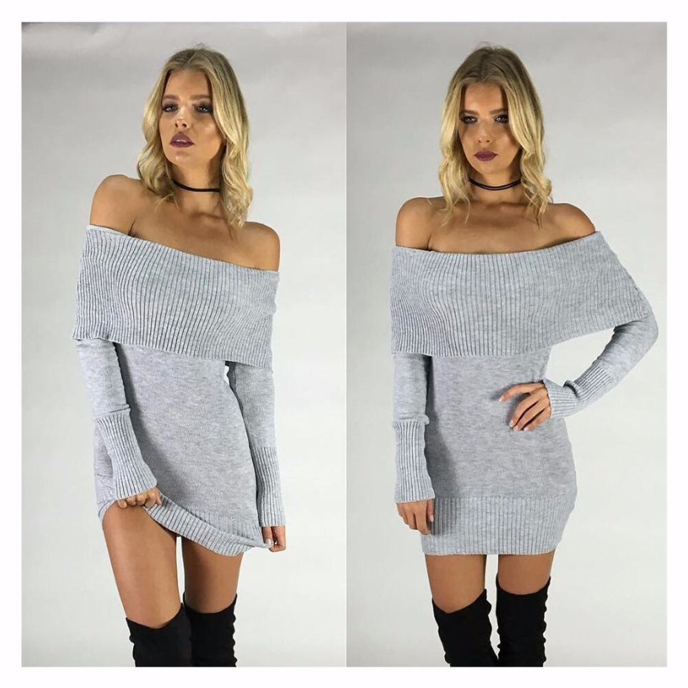 c028f08ca07 Winter off shoulder knitted bodycon dress Women long sleeve autumn sexy  dress party short white dresses -in Dresses from Women s Clothing on  Aliexpress.com ...