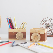 New creative wooden camera pen holder Home office desk personality decoration camera makeup brush storage box