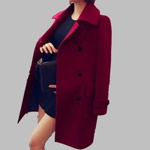 2016 New Women Spring Autum Winter Elegant Woolen Coat Double Breasted Overcoat Medium long Outerwear Fit Slim Plus Size G1685