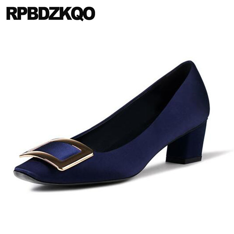 italian royal blue metal women silk pumps ladies satin dress shoes block square toe high heels new 2018 size 4 34 medium party sandals metal strap pumps square toe beige vintage medium 2017 women shoes high heels size 33 slingback belts block chinese
