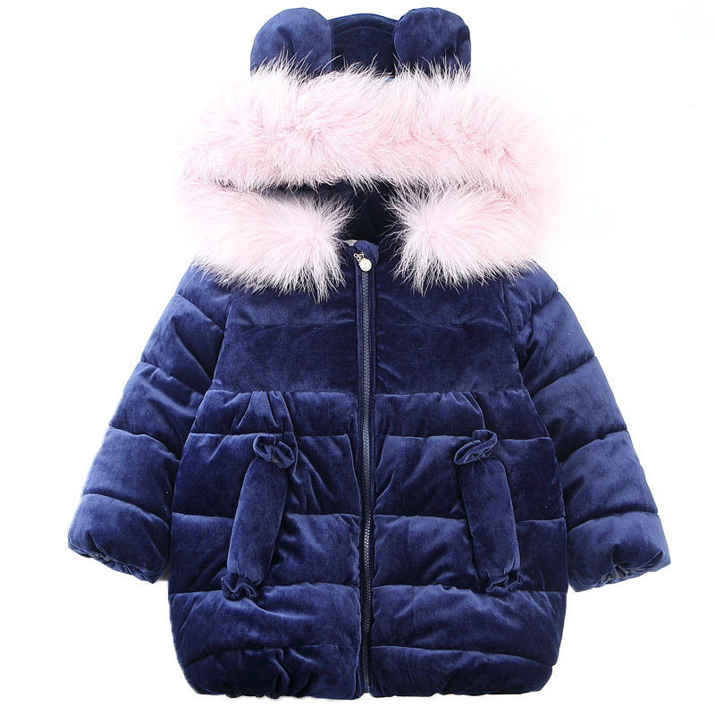 Winter jacket for girls Fur collar hooded Cartoon doll ornaments kids warm coat for girl outwear children clothes 2017 winter new clothes to overcome the coat of women in the long reed rabbit hair fur fur coat fox raccoon fur collar