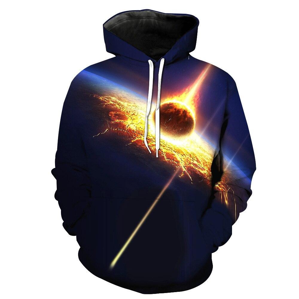 Comet Frappant La Terre 3D Imprimer Tendance Sweat À Capuche Fashion Hoodies Flaming Galaxy Automne Casual Sweat À Capuche Tops Mâle