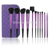 Free Shipping 11 Pcs Pro Hot Sale Hair Make Up Cosmetic Brush Set With Case Purple