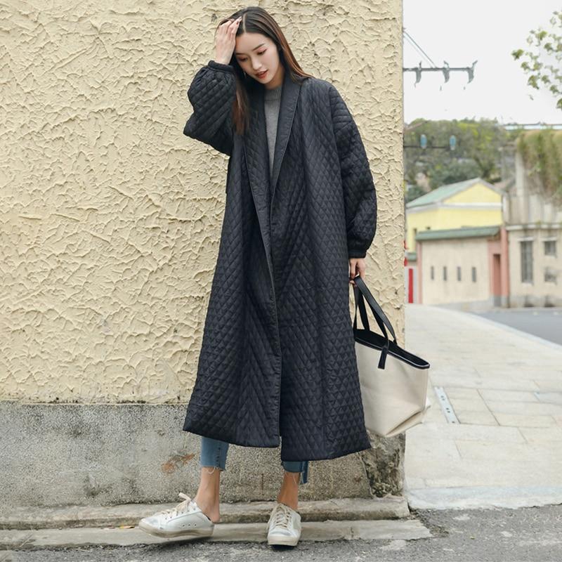 LANMREM New Fashion Black Oversize Lapel Back Vent Button Winter Jacket 18 Female's Long Cotton Coat Jaqueta Feminina WTH11 6