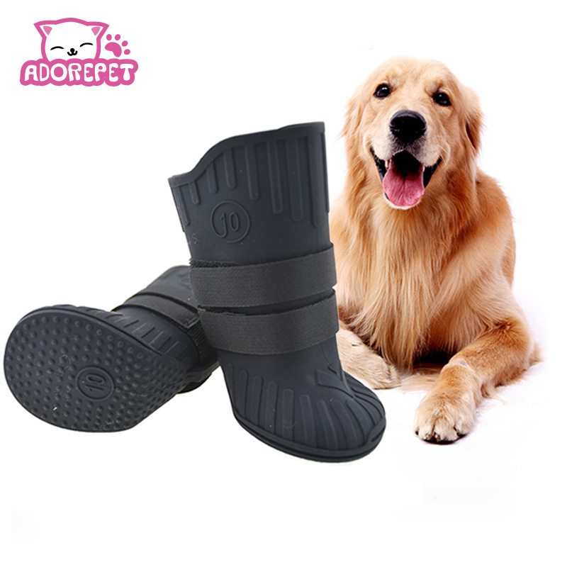 Natural Rubber Large Big Dog Rain Snow Shoes Waterproof Pet dog Puppy boots booties non- ...