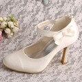 Wedopus MW578 Senhoras Casamento Sapatos Mary Jane Salto Saltos Fechado Dedos Off White Satin com Hook & Loop