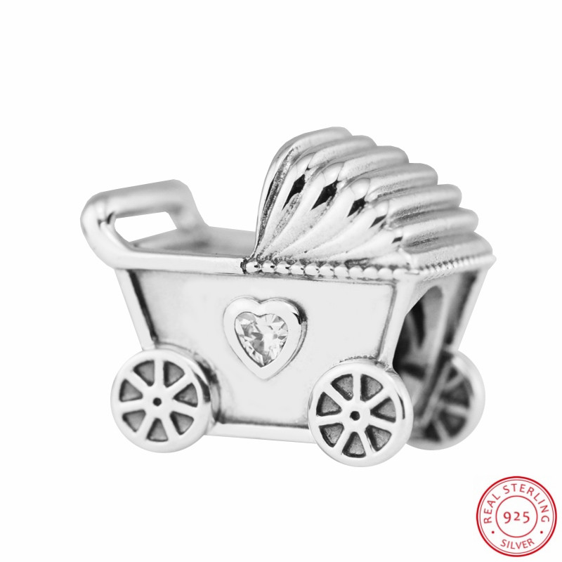 c963751d4ef79 Aliexpress.com   Buy 925 Sterling Silver Baby s Pram Charm Beads with Two  Heart shaped Sparkling CZ DIY Fit PANDORA Charms for Jewelry Making FL547  from ...