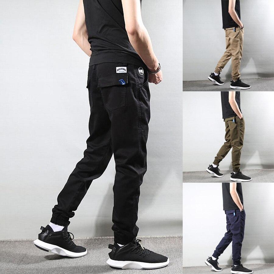 Fashion Streetwear Men Jeans Loose Fit Casual Spliced Designer Cargo Pants Harem Trousers Slack Bottom Hip Hop Joggers Pants Men
