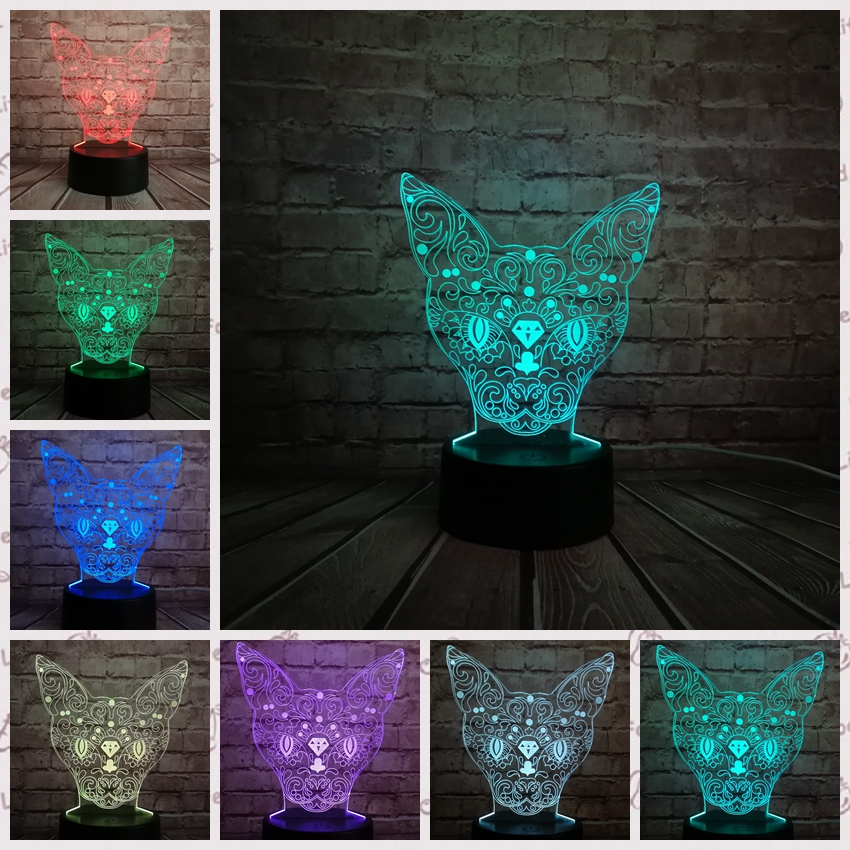3D Cat Series Lazy Cat Walking Cat Multicolor LED Night light Lamp Children Christmas Gift Table Decor Light USB Touch Remote