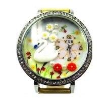 TOP Mini 3d coréenne Blanc Swan fleurs BRICOLAGE argile strass montre femmes Coréenne analogique quartz robe montre-bracelet Étudiant École