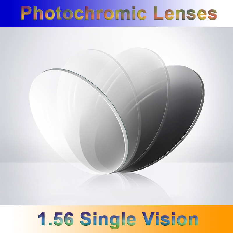 1.56 Light-Sensitive Photochromic Single Vision Optical Prescription Lenses Fast and Deep Gray and Brown Color Changing Effect