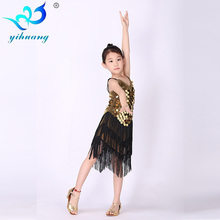Girl Latin Dance Dress Sequin Tassel Dancewear Clothing Girls Salsa Dresses Stage Wear Costumes Kids Strap Ballroom Dressing