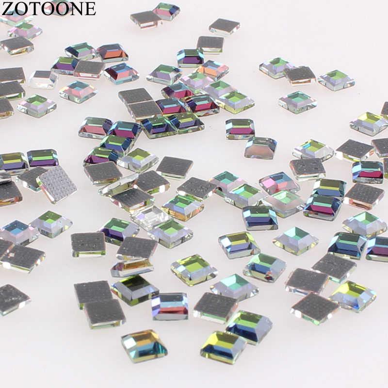 ZOTOONE 100PCS Hotfix Strass di Vetro Artigianale Cristalli Strass Forma Quadrata Strass Colla Flatback DMC Strass per I Vestiti