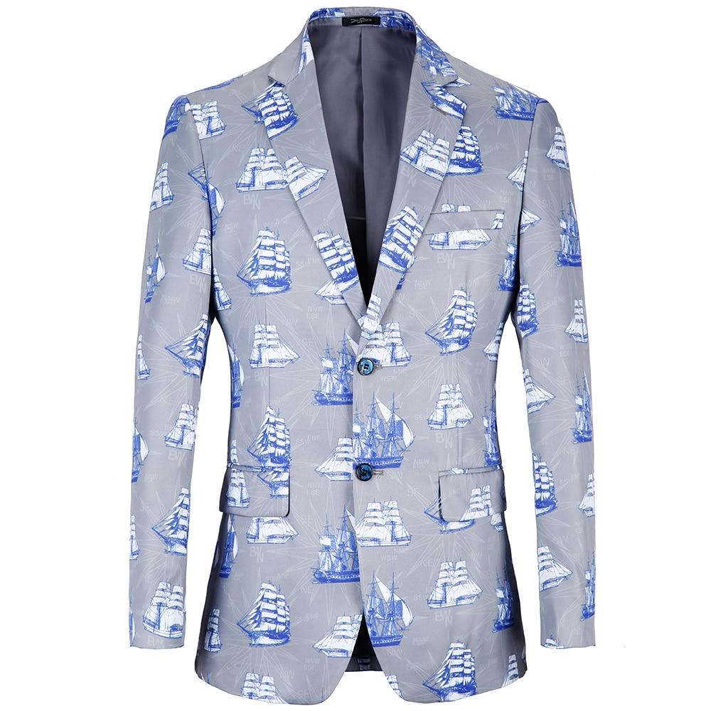 PAULKONTE 2019 big size 38R-48R Blazer Men Print Sea design Suit Jacket Blue Casual loose Plus Size men coat jacket
