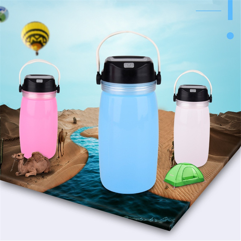 Waterproof LED Solar Powered Camping Bottle Cup Lights Outdoor Silicone Lamp Chargeable Energy Saving Garland Lighting decor
