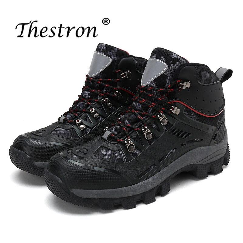 Мужские ботинки на резиновой подошве Thestron, черные, серые, охотничьи ботинки на резиновой подошве, зима 2019