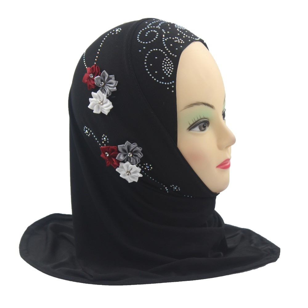 Girls Kids Muslim Hijab Islamic Arab Scarf Shawls With 6 Beautiful Flowers About 45cm For 1 To 5 Years Old Girls