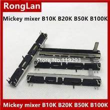 [BELLA]Mickey mixer fader potentiometer 75MM 7.5CM  long double- B10K B20K B50K B100K Potentiometer Stereo Slide–50pcs/lot