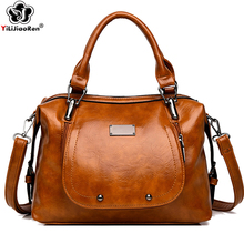 Vintage Oil Wax Leather Women Handbag Large Capacity Ladies Hand Bags Luxury Handbags Women bags Designer Shoulder Crossbody bag zmqn women leather handbags oil wax soft leather hand bags large capacity crossbody bags famous brand portable strap adjustable