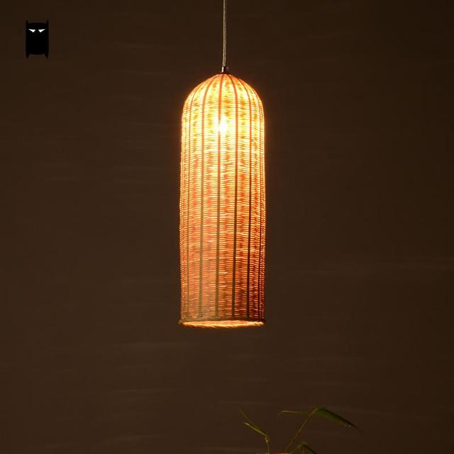 Bamboo hand woven wicker rattan basket lantern long lampshade bamboo hand woven wicker rattan basket lantern long lampshade pendant light fixture asian japanese lamp mozeypictures Image collections
