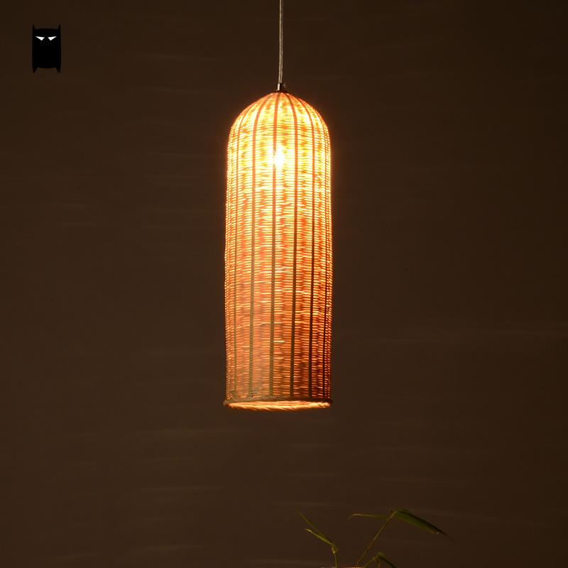 Bamboo Hand-Woven Wicker Rattan Basket Long Lampshade Cylinder Pendant Light Fixture Asian Japanese Lamp Dining Study Tea Room natural black bamboo wicker lampshade hat large pendant light antique chinese asian rattan hanging ceiling lamps foyer lighting