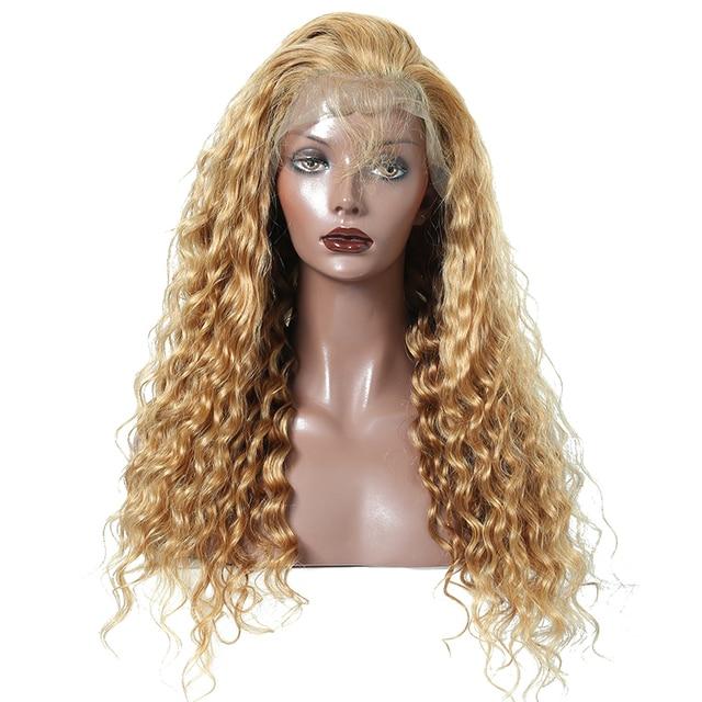 Deep Wave Blonde Wigs Remy Brazilian Human Hair Color 27 250