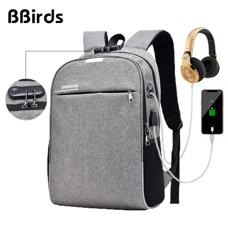 Bbirds Usb 15.6 Inch Laptop Backpacks Anti Armor Waterproof Male Notebook Usb Backpack Men's Bag Matein Travel Laptop Backpack