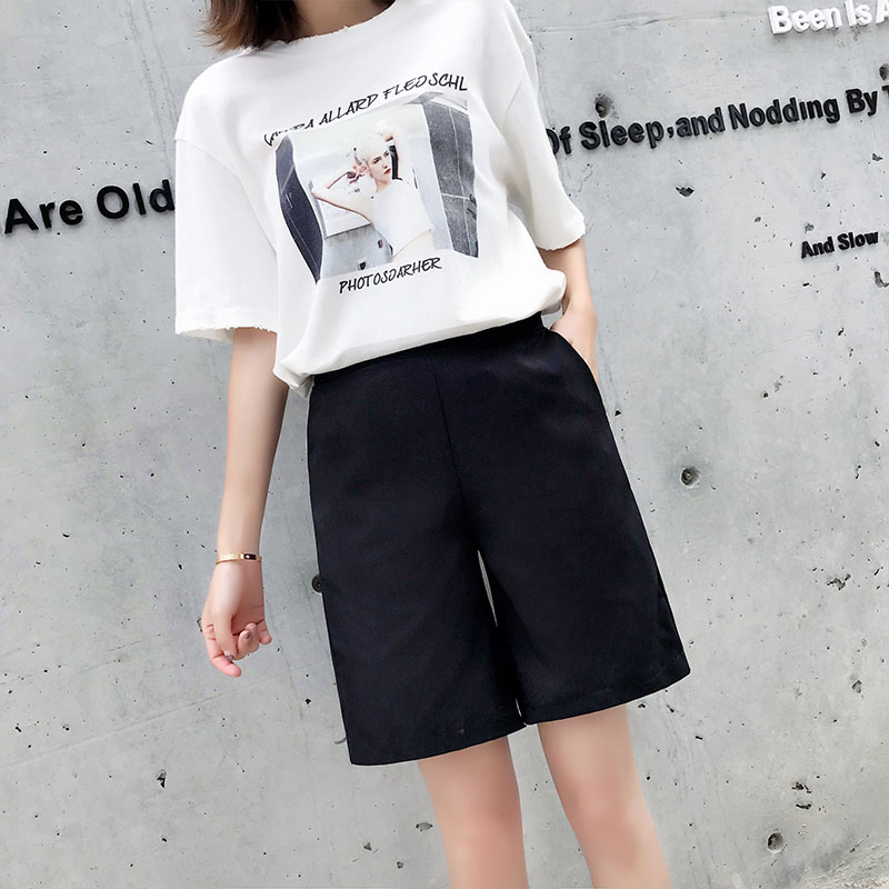 S- 5XL Hot sale summer shorts stretch waist shorts pockets solid black casual style cute shorts for womens clothes plus size fit