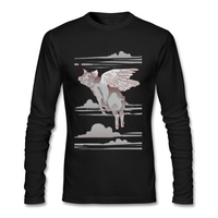 Great Discount Flying Pig Tee Shirts For Man Cotton Online T Shirts New High Quality Full