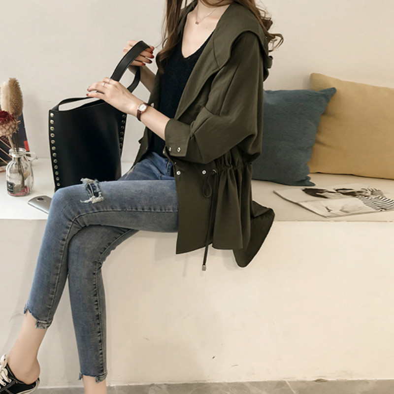 Loose Hooded Long Sleeve Women Trench Coat 2