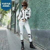 2019 весенний женский сетчатый разноцветный облегающий джинсовый пиджак белый шаровары комплект из 2 предметов уличный стиль Хип Хоп Уличная