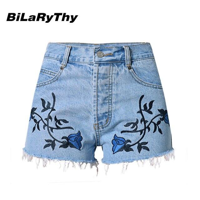 BiLaRyThy Nuevas Mujeres de La Moda de Verano Pantalones Vaqueros Cortos de Cintura Alta Bordado Floral de la Vendimia Femme Casual Pantalones Cortos de Mezclilla Azul