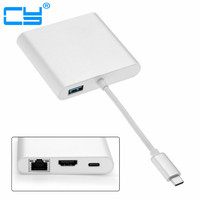 USB-C USB 3.1 Type CถึงHDMIดิจิตอลAV & USB OTGและGigabit Ethnernetและหญิงชาร์จอะแดปเตอร์สำหรับแล็ปท็อป