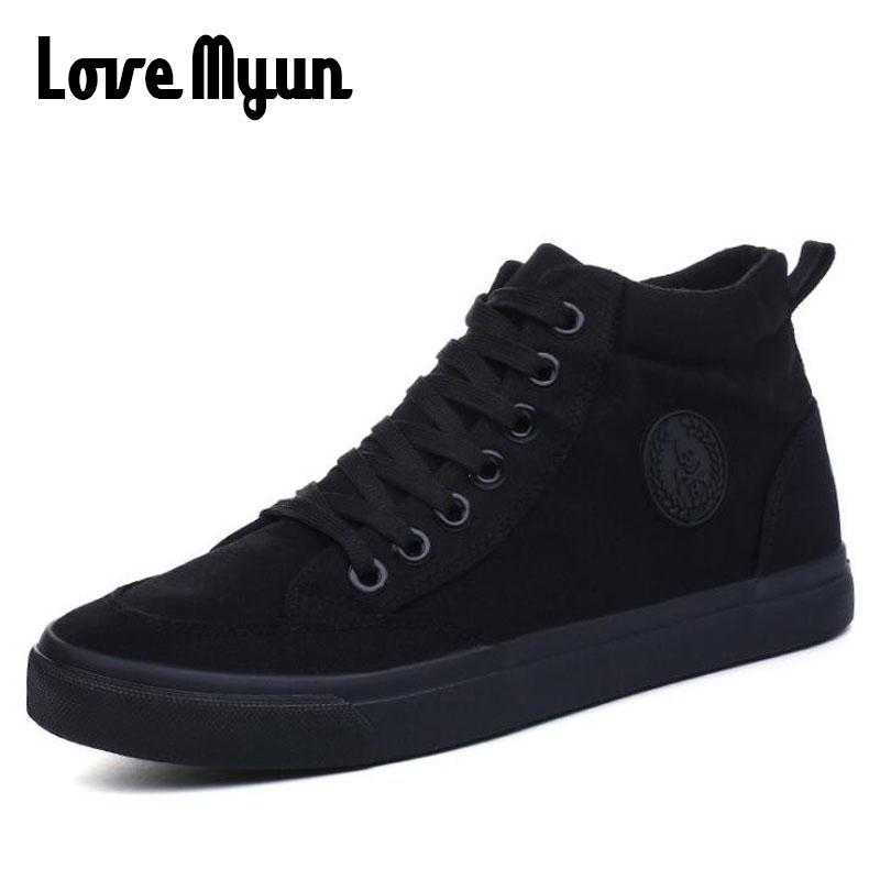 All Black Men's Casual Shoes Breathable Canvas Man Lace up Brand Sneakers Black Men Canvas Fashion High Top Shoes HH-66 hot sale 2016 top quality brand shoes for men fashion casual shoes teenagers flat walking shoes high top canvas shoes zatapos