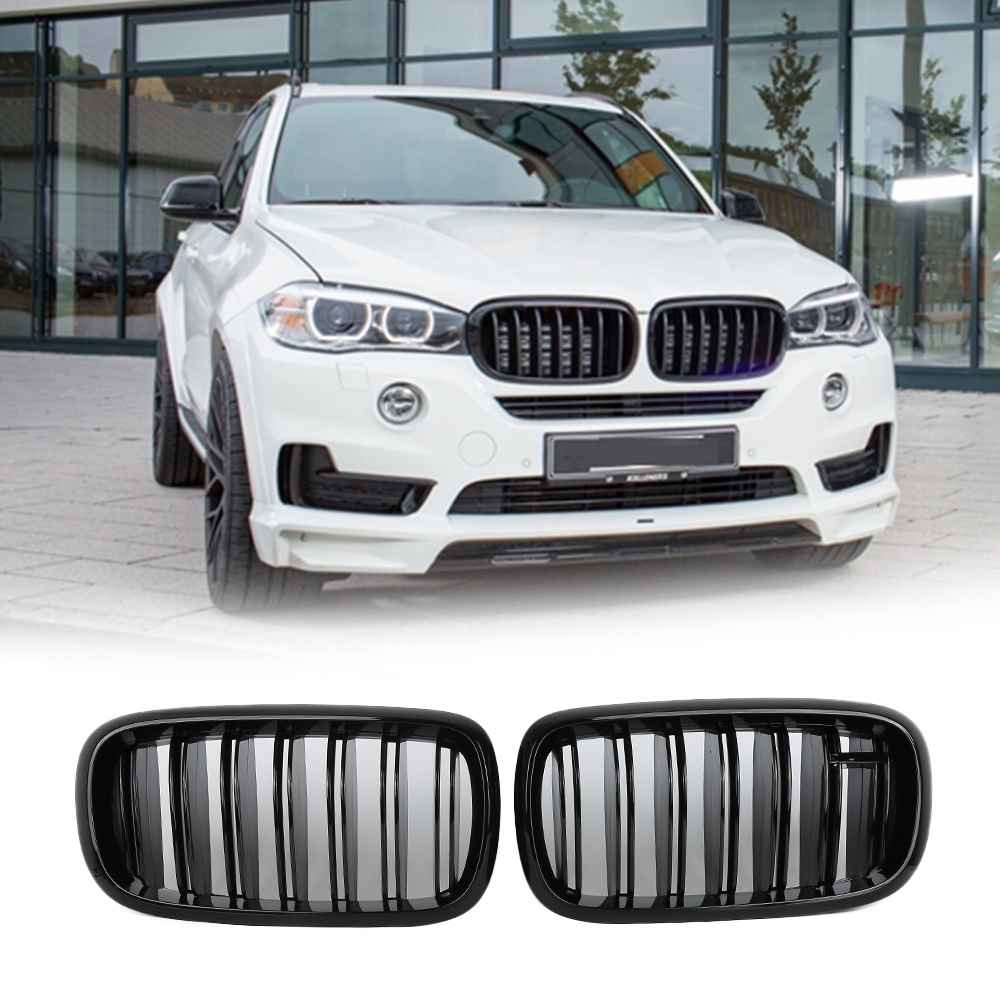 1 pair car front bumper grill pair replacement front kidney grille grill glossy black for bmw