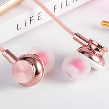 Langsdom Rose Gold Metal Earphone Fashion ErgoFit Noise Isolating earphones Super Bass Headsets with Microphone for Phone PC