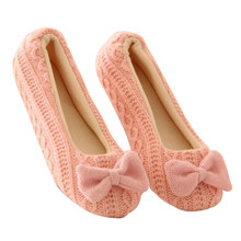 MoneRffi Hot Sale Women Wool Bow Comfortable Shoes Ladies Home Floor Soft Indoor Shoes Casual Warm Flat Heel Yoga Shoes Gifts(China)