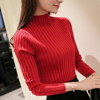 Women Slim Knit Basic Tops Autumn Winter Sweater Women Long Sleeve Pullover