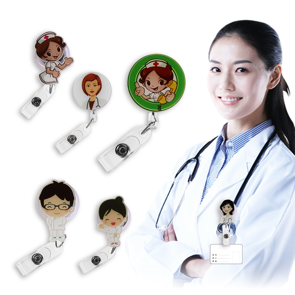 1Pcs Cute Cartoon Mini Retractable Badge Reel Nurse Lanyards ID Name Card Badge Holder Clip Student Nurse Badge Holder