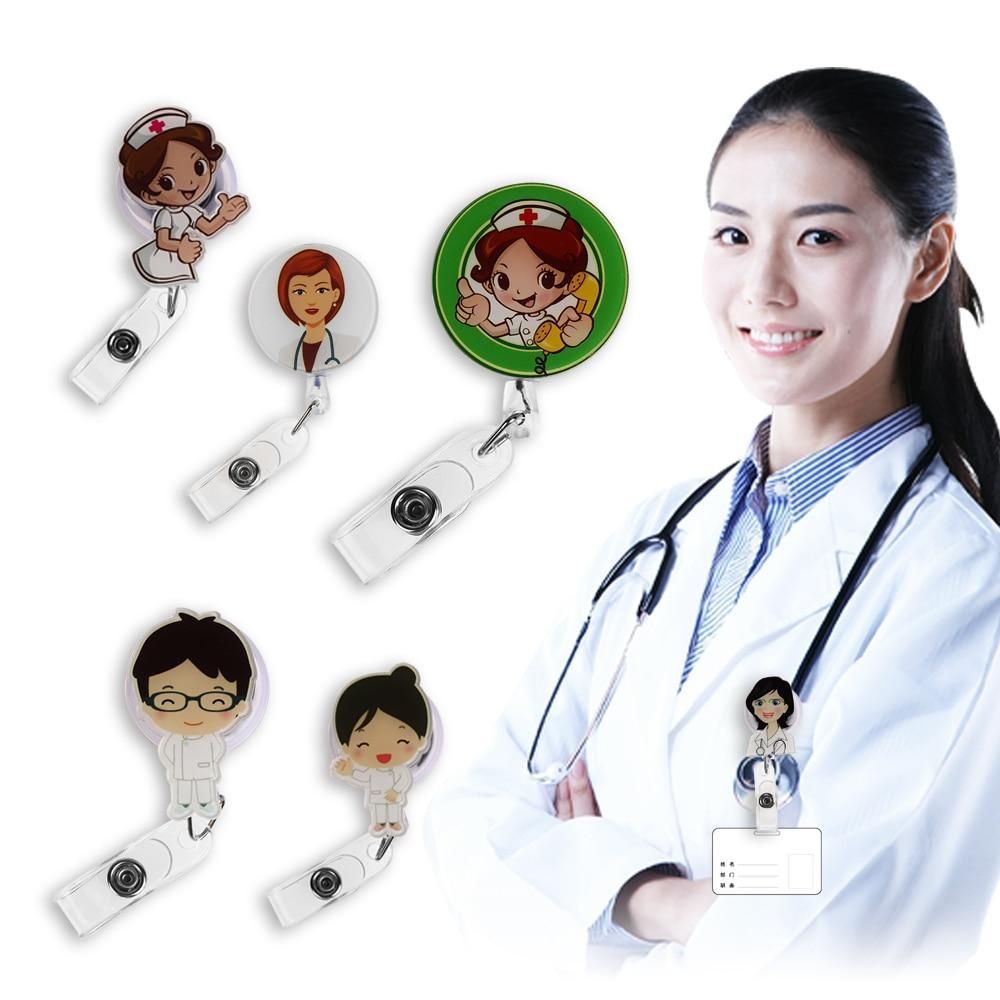 1Pcs Cute Cartoon Mini Retractable Badge Reel Nurse Lanyards ID Name Card Badge Holder Clip Student Nurse Badge Holder Dropship