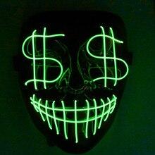 Хэллоуин Рождество Led светящаяся маска доллар гримаса кровавый EL провода Вечерние Маски клуб бар DJ светящиеся Полный лица маски светодиодные маски