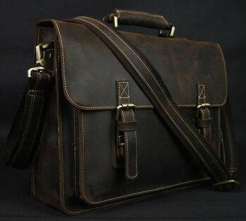 Vintage Crazy Horse Real Leather Shoulder bag Men crossbody bag Men  Messenger Bag Genuine Leather Bag d5b0e009d34f9