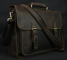 Vintage Crazy Horse Real Leather Shoulder bag Men crossbody bag Men Messenger Bag Genuine Leather Bag tote Handbag Leisure Brown