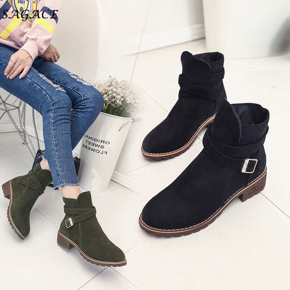 SAGACE Shoes Women Ankle Flock Boots Warm Autumn Winter Shoes Solid Romon Middle 3cm Heel High Martin Shoes casual Buckle Boots