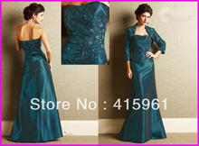 Hunter A Line Appliqued Plus Size Mother of the Bride Dresses With Jacket Taffeta M593