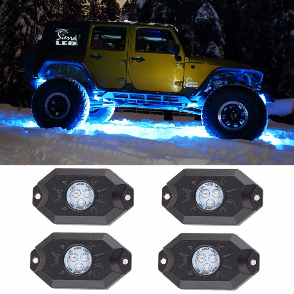 4pcs/set single color option auto part factory price 2 12v 9w led rock light for 4x4 offroad truck